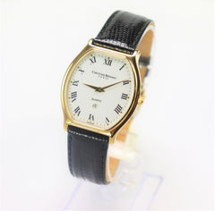 Christian Bernard Gold Plated Stainless Steel/Leather Band Watch Vintage New