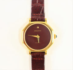 Ardath Ladies Swiss Made Watch Gold Plated Burgundy 1980's Vintage Brand New with Tag