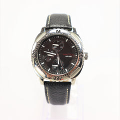 Nautica Men's Stainless Steel Leather Band Wristwatch Vintage New 1990's
