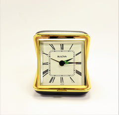 Bulova Winding Travel Alarm Clock Black and Gold Metal Clam Shell Case
