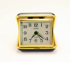 Linden Winding Travel Alarm Clock Black and Gold Metal Clam Shell Case