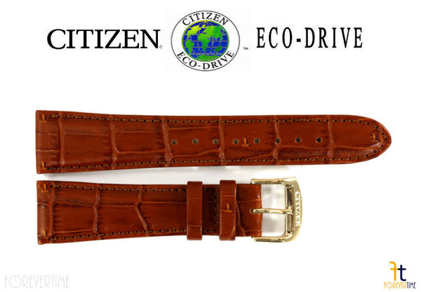 Citizen 59-S52479 Original Replacemnet 22mm Light Brown Leather Watch Band Strap - Forevertime77