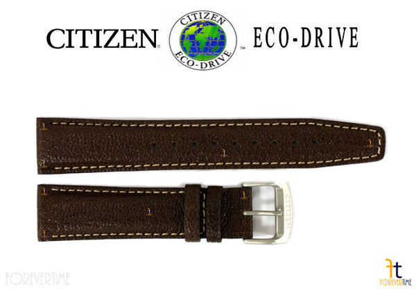 Citizen 59-S53285 Original Replacement 20mm Brown Leather Watch Band Strap - Forevertime77