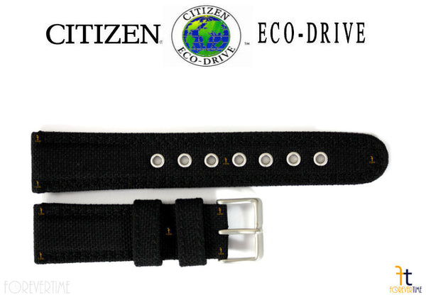 Citizen 59-S51974 Original Replacement 22mm (LONG) Black Nylon Watch Band Strap - Forevertime77