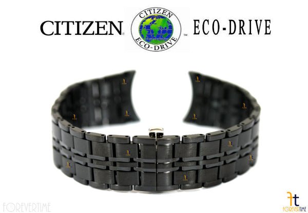 Citizen 59-S03891 Original Replacement 20mm Black Ion Plated Stainless Steel Watch Band Bracelet - Forevertime77
