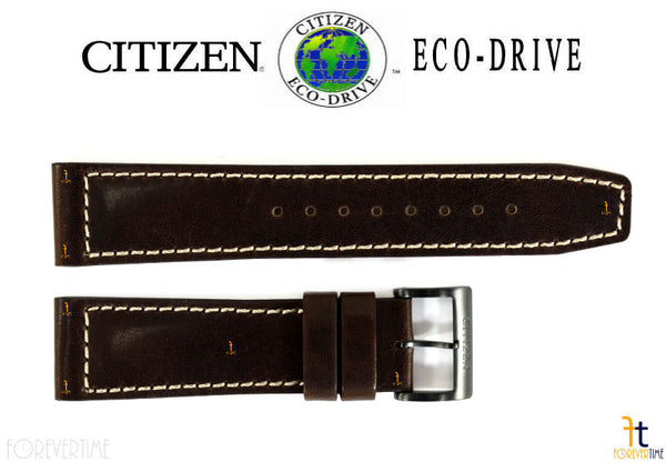 Citizen 59-R50237 Original Replacement 22mm Brown Leather Watch Band Strap - Forevertime77