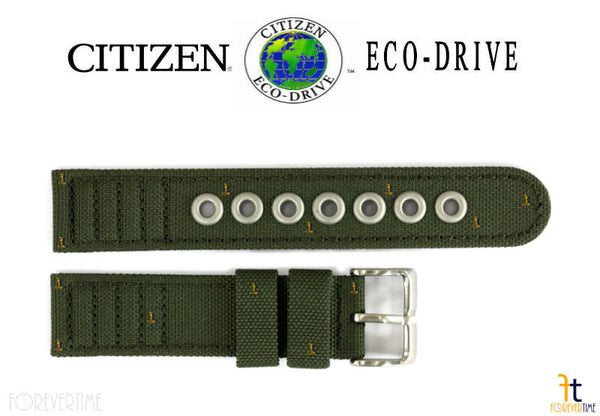 Citizen 59-S52136 Original Replacement 18mm Green Cloth Nylon Watch Band Strap - Forevertime77