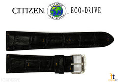 Citizen 59-S52478 Original Replacement 22mm Black Leather Watch Band Strap
