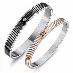 Stainless Steel Black & Rose Gold Plated Ladies Bangle w/Crystal 160mm & 180mm