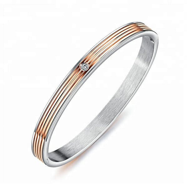 Stainless Steel and Rose Gold Plated Ladies Bangle with Crystal in Center 160mm - Forevertime77