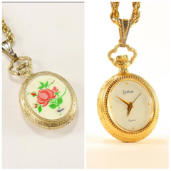 Sutton Ladies Gold Plated Necklace Watch  with Enamel backing 1980's Rare