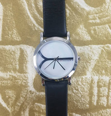 BCBG MAX AZRIA Watch Mother of Pearl Stainless Steel Black Leather Band