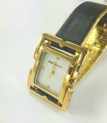 BCBG MAX AZRIA Watch Gold Plated Black Leather Band Rectangle Dial