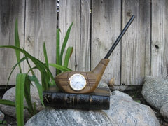 Golf Club desk clock - with pen holder (color black/brown)