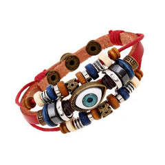 Leather Wrap Bracelet Evil Eye Multi-Strand Beaded Adjustable Button Closure