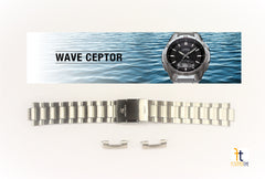 CASIO Wave Ceptor WVA-320DJ-1E Original 22mm Stainless Steel Watch BAND w/2 Pins