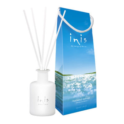 Formulated with better-than-ever fragrance delivery via fiber wick reeds. Capture the coolness, clarity and purity of the ocean in your home with their signature scent, Energy of the Sea. Inis contributes to the protection and conservation of Whales and Dolphins.  100 ml (3.3 fl oz.) Frosted glass vessel 5 fiber wick reeds