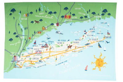 Long Island Map Dish Towel