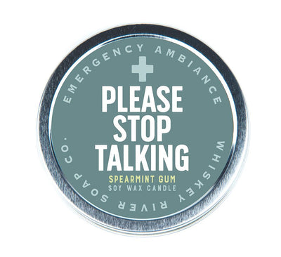 Please Stop Talking Travel Tin Candle