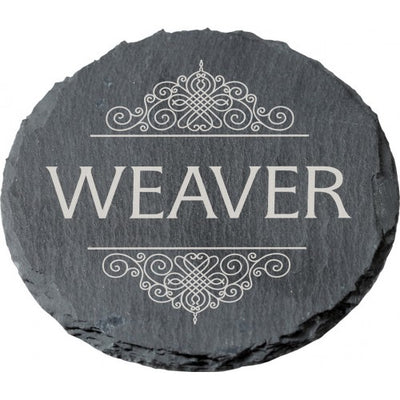 Personalized Round Slate Coaster Set
