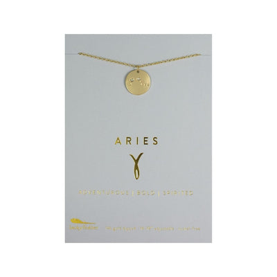 Aries Zodiac Necklace - Gold Tone