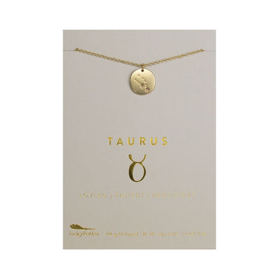 Taurus Zodiac Necklace - Gold Tone