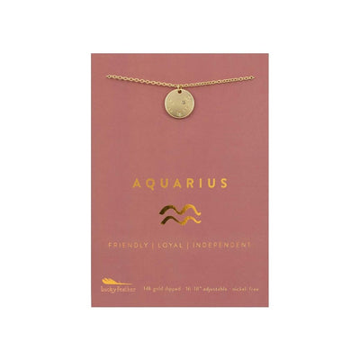 Aquarius Zodiac Necklace - Gold Tone