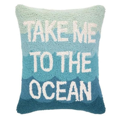 Take Me To The Ocean Wool Hooked Decorative Pillow