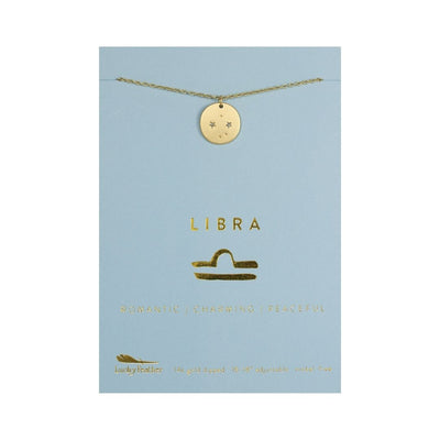 Libra Zodiac Necklace - Gold Tone