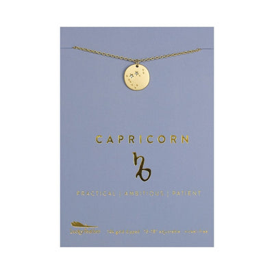 Capricorn Zodiac Necklace - Gold Tone