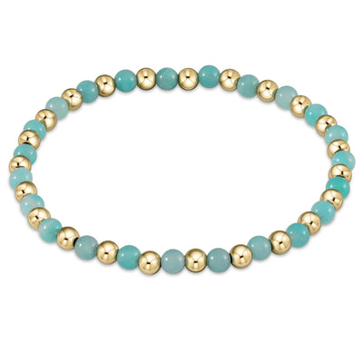 enewton Gold Grateful Pattern 4mm Bead Bracelet Amazonite