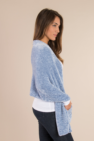 Chenille Pocket Wrap Glacier Blue
