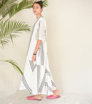 White Stripe and Flounce Maxi Dress