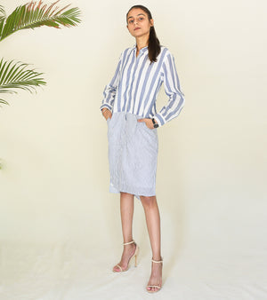 Stripe On Stripe Shirt Dress