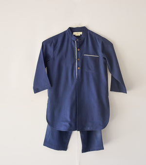 Navy Blue Pathani Kurta Set