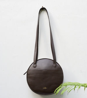Dark Brown Round Bag