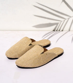 Beige Canvas Mules