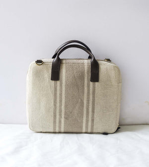Beige Canvas Mini Briefcase-Dark Brown Leather