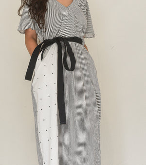 Black and White Belted Waist Dress
