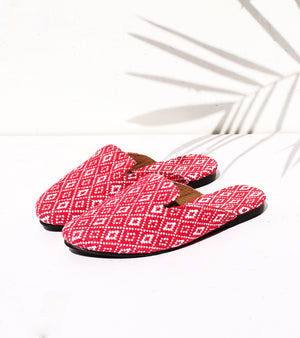 Red Canvas Mules