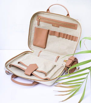 Beige Canvas Mini Briefcase