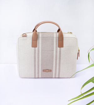 Beige Canvas Mini Briefcase-Tan Leather