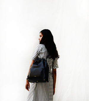 Black Drawstring Shoulder Bag