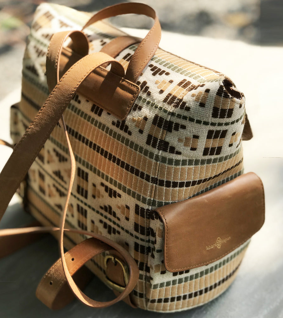 Tan jute back pack