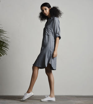 GREY SHIRT DRESS