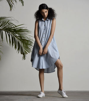 BABY BLUE SHIRT DRESS