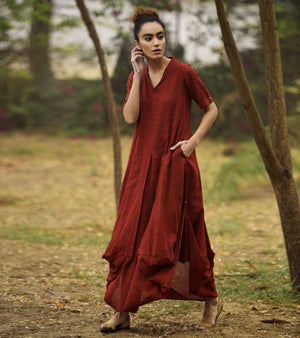 DEEP RED LOVE COWL AND DRAPE DRESS