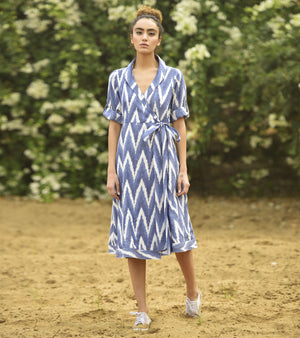 CHEVRON WRAP TRENCH DRESS