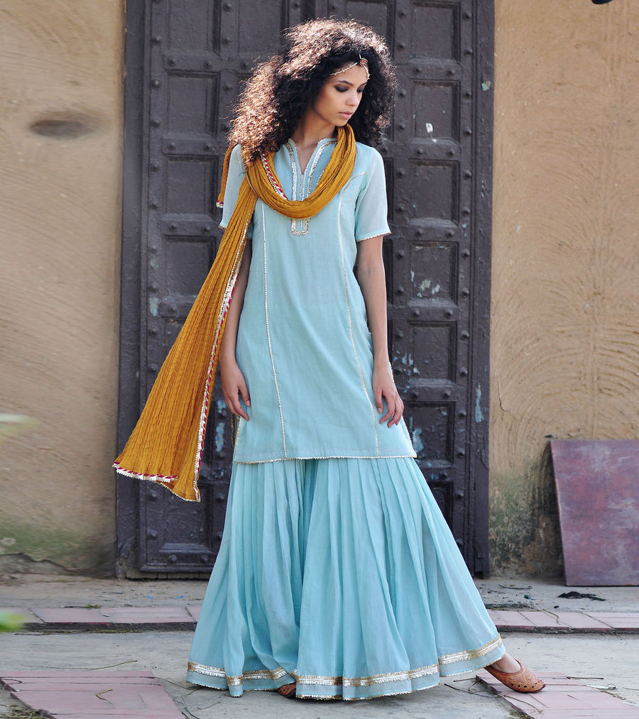 PALE BLUE AND MUSTARD SHARARA SET