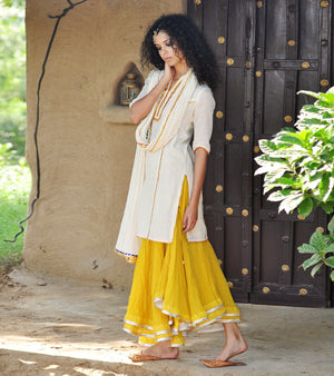 MUSTARD AND IVORY GHAGRA KURTI SET